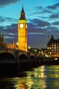 Overview of London with the Elizabeth Tower - stock photo