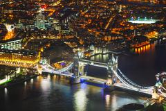 Aerial overview of London city with the Tower bridge - stock photo