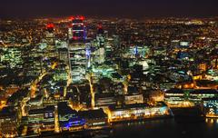Aerial overview of the City of London financial ddistrict - stock photo