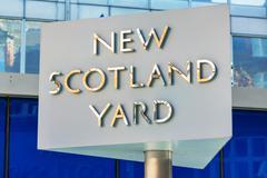 Famous New Scotland Yard sign in London, U - stock photo