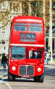 Iconic red double decker bus in London - stock photo