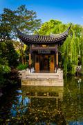 Pagoda at the Lan Su Chinese Garden, in Portland, Oregon. Stock Photos