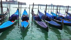 Amazing Venice Gondola parking and view to San Giorgio Maggiore, Italy Stock Footage
