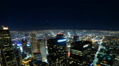 4K Time Lapse of Downtown LA Power Shut Off at Earth Hour 2015 -Tilt Down- Stock Footage
