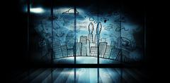 Stock Illustration of Composite image of cityscape with brainstorm doodle