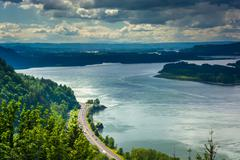 View of the Columbia River from the Vista House, at the Columbia River Gorge, - stock photo