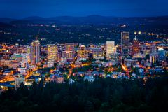 View of the Portland skyline at night, from Pittock Acres Park, in Portland,  - stock photo