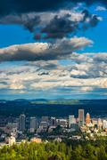 View of the Portland skyline from Pittock Acres Park, in Portland, Oregon. - stock photo