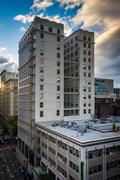 Views of buildings on Alder Street, in Portland, Oregon. Stock Photos