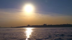 Hagia Sophia and Blue Mosque. Slow motion from the boat on sunset Stock Footage