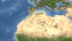 Algeria on maps - outlined and glowed. Neighbourhood. Set of animations. - stock footage