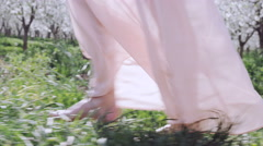 Close up of woman's legs walking through orchard of white cherry blossoms Stock Footage