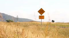Rural Australian road with traffic and turning traffic road safet Stock Footage