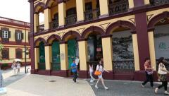Tap Seac Square with old Portuguese houses in Macao - stock footage