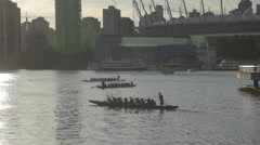 Dragon Boats Silhouette - Science World Vancouver Stock Footage