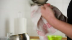Cleaning coffee dish with towel close up Stock Footage