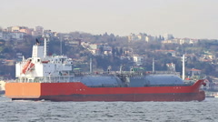 LPG tanker ship heading up strait in Bosporus waters, Istanbul Stock Footage
