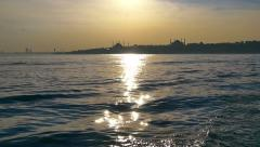 Glittering sea of Bosphorus just in time for sunset. Slow Motion Stock Footage