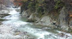 Gunma river zoomup in japan, 4k color graded (4000x2160) Stock Footage