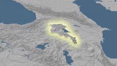Stock Video Footage of Armenia outlined and glowed. Neighbourhood. Elevation