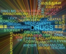 Drugs multilanguage wordcloud background concept glowing - stock illustration