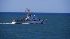 US Coast Guard cutter in heavy seas slow motion Stock Footage