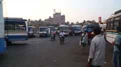 People at local bus terminal in Goa. Stock Footage