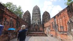 Wat Si Sawai, Ancient buddha temple. Sukhothai Historical Park, Thailand Stock Footage