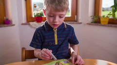 Boy carefully applying color on small egg 4K Stock Footage