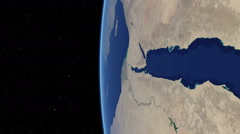 Orbital flyover of the Red Sea with camera tilted 90 degrees (cloudless) - stock footage
