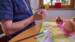 Creative paintings on chicken eggs for Easter holiday 4K Stock Footage