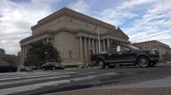 Washington DC USA National Archive Building across road traffic 4K 047 Stock Footage