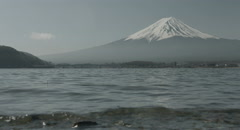 Morning Mt.Fuji near water, 4k  non color graded (4000x2160) Stock Footage
