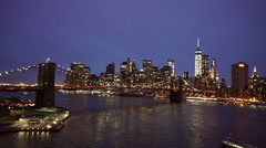 Fantastic night shot of Manhattan skyline - stock footage