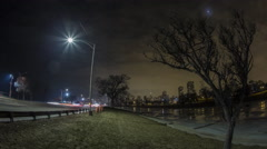 Lake Shore Drive Moonrise Over City at Night - stock footage