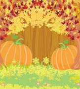 Pumpkins on wooden background with leaves. Stock Illustration