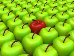 One red apple among background of green apples - stock illustration