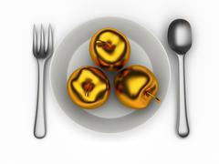 Isolated golden apples Stock Illustration