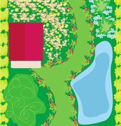 Stock Illustration of Project landscaping with pool.