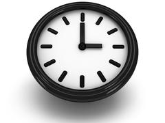 3D Round clock shows three o'clock Stock Illustration