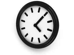 3D Round clock shows three o'clock - stock illustration