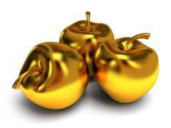 Isolated golden apples. 3d render - stock illustration