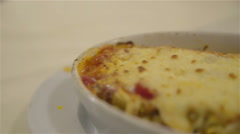 Boiling lasagna close up on plate 4K Stock Footage