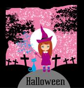 girl witch charm cat - stock illustration