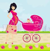 beautiful pregnant woman pushing a stroller with her daughter - stock illustration