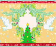 Stock Illustration of Christmas card with doves and mistletoe