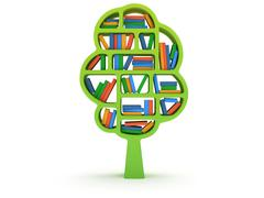 3d Tree of knowledge. Bookshelf on white. - stock illustration