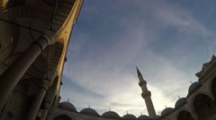 Panoramic view inside the mosque Stock Footage