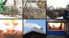 Tree branch crush. Burning wood granules. Smoke rise. Collage Stock Footage