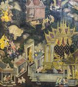 Thai mural painting on temple wall - stock photo
